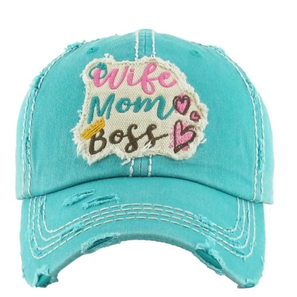 "/""WIFE MOM BOSS/"" Embroidered Vintage Style Ball Cap with Washed-look"